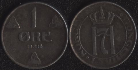 Норвегия 1 оре эре 1918