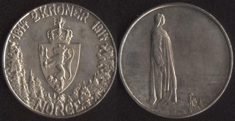 Норвегия 2 кроны 1914 Конституция
