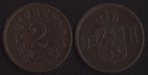 Норвегия 2 оре 1876