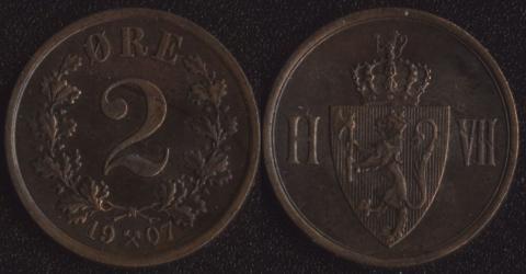 Норвегия 2 оре 1907