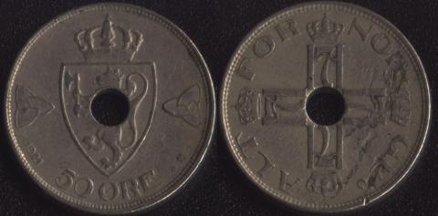 Норвегия 50 оре 1921