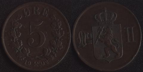 Норвегия 5 оре 1902