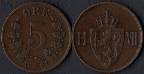 Норвегия 5 оре 1907