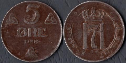 Норвегия 5 оре 1919