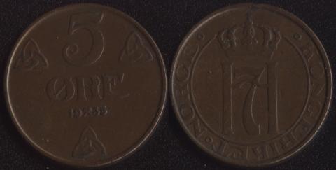Норвегия 5 оре 1935