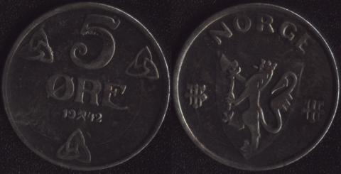 Норвегия 5 оре 1942