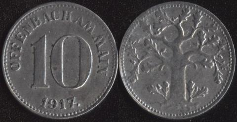 Оффенбах 10 пфеннигов 1917 (толстый ствол)