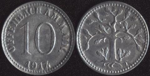Оффенбах 10 пфеннигов 1917 (тонкий ствол)