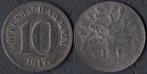 Оффенбах 10 пфеннигов 1917 (железо)