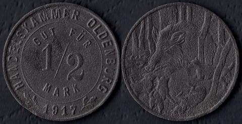 Ольденбург 1/2 марки 1917