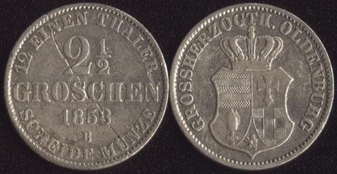 Ольденбург 2-1/2 грошена 1858