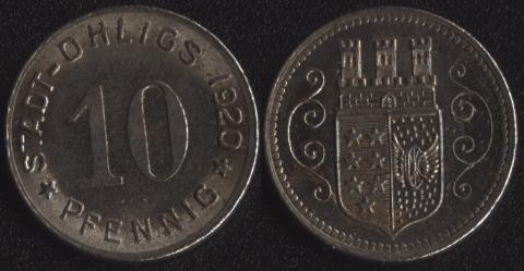 Олигс 10 пфеннигов 1920