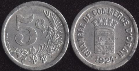 Оран 5 сантим 1921