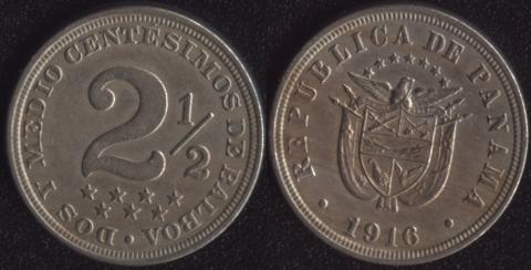 Панама 2-1/2 сентесимо 1916