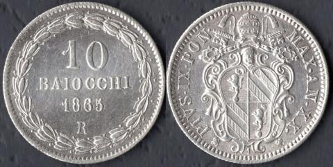 Папская область 10 байокко 1865
