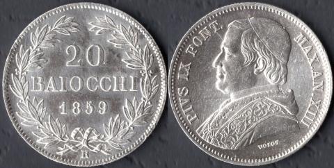 Папская область 20 байокко 1859