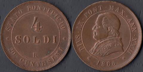 Папская область 4 сольдо 1868