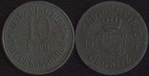 Пегнитц 10 пфеннигов 1917