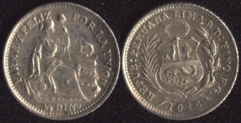Перу 1/2 динеро 1916