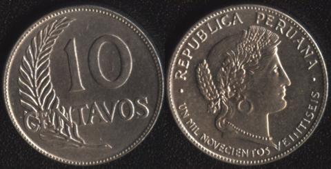 Перу 10 сентаво 1926