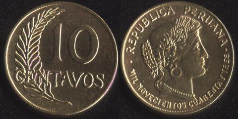 Перу 10 сентаво 1943