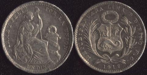 Перу 1 динеро 1912