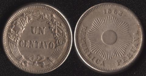 Перу 1 сентаво 1863