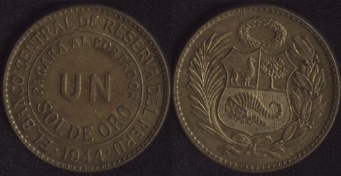 Перу 1 соль де оро 1944