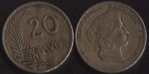 Перу 20 сентаво 1921