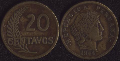 Перу 20 сентаво 1944