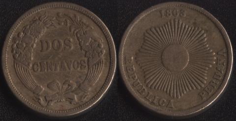 Перу 2 сентаво 1863