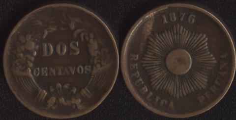 Перу 2 сентаво 1876