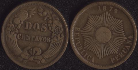 Перу 2 сентаво 1879