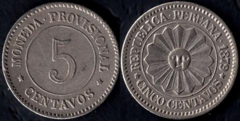 Перу 5 сентаво 1879