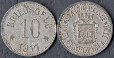 Пфаффенхофен 10 пфеннигов 1917