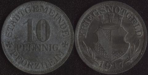 Пфорцхайм 10 пфеннигов 1917