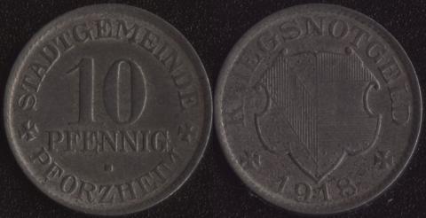 Пфорцхайм 10 пфеннигов 1918