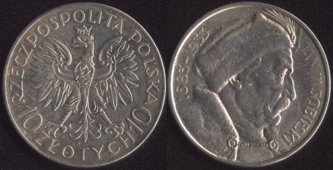 Польша 10 злотых 1933 Собески