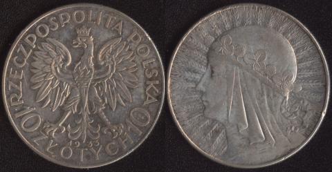 Польша 10 злотых 1933 Ядвига