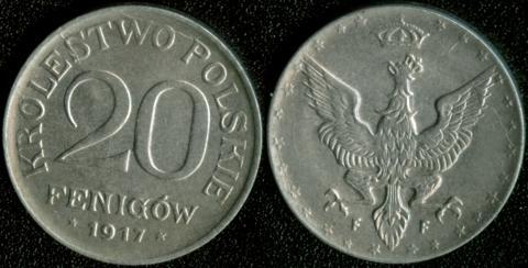 Польша 20 феннигов 1917