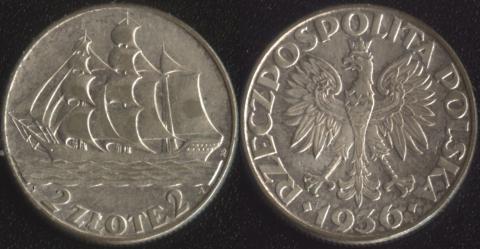 Польша 2 злотых 1936 Дар Поморья