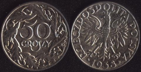 Польша 50 грошей 1938 никелированное железо