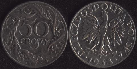 Польша 50 грошей 1938