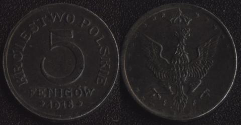 Польша 5 фенигов 1918