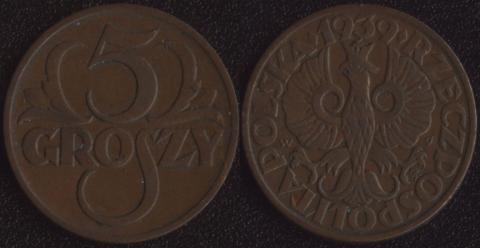 Польша 5 грошей 1939