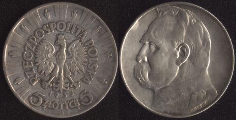 Польша 5 злотых 1935 Пилсудский