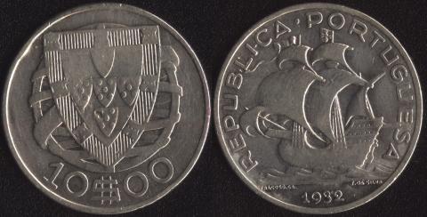 Португалия 10 эскудо 1932