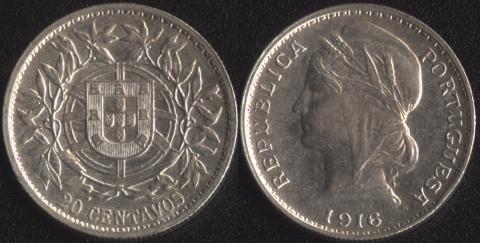 Португалия 20 сентаво 1916