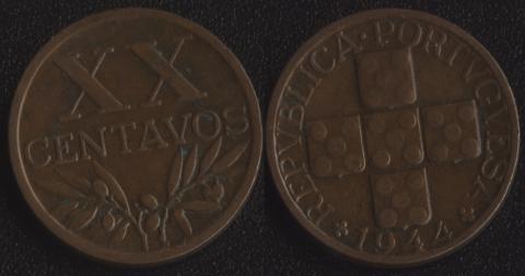 Португалия 20 сентаво 1944