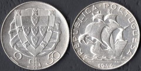 Португалия 2,5 эскудо 1944